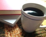 Books, Coffee, Mug Rug (c) M. Wilbourn for FSP